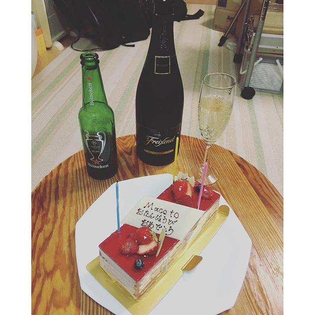 バンドメンバーにお祝いして頂きましたー!#誕生日#ケーキ#ハイネケン#フレシネコンドネグロ #チャンピオンズリーグ#SmashDrive #スマドラ