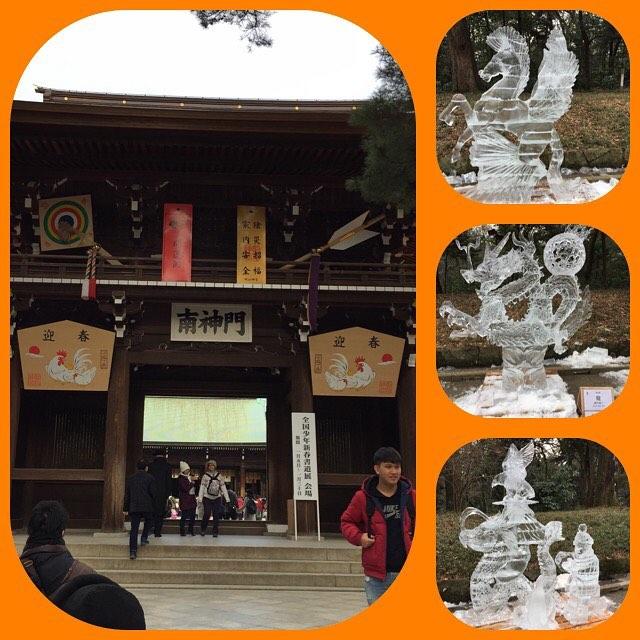 明治神宮へお参り。氷の彫刻展やってたぞ。  #明治神宮 #お参り #原宿 #氷の彫刻